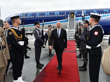 Президент Ильхам Алиев прибыл с официальным визитом в Польшу - ФОТО