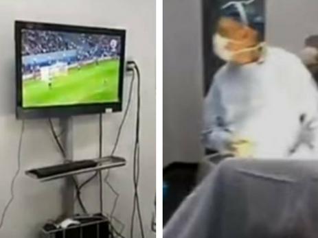 Чилийские медики смотрели футбол во время операции
