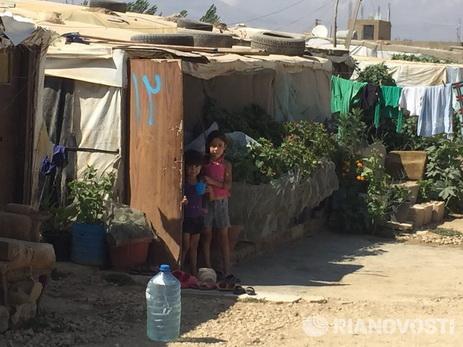 В лагере сирийских беженцев в Ливане произошел пожар