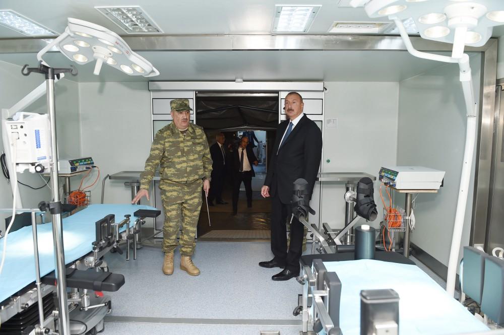 Ильхам Алиев ознакомился с возможностями Мобильного полевого хирургического госпиталя Министерства обороны - ФОТО