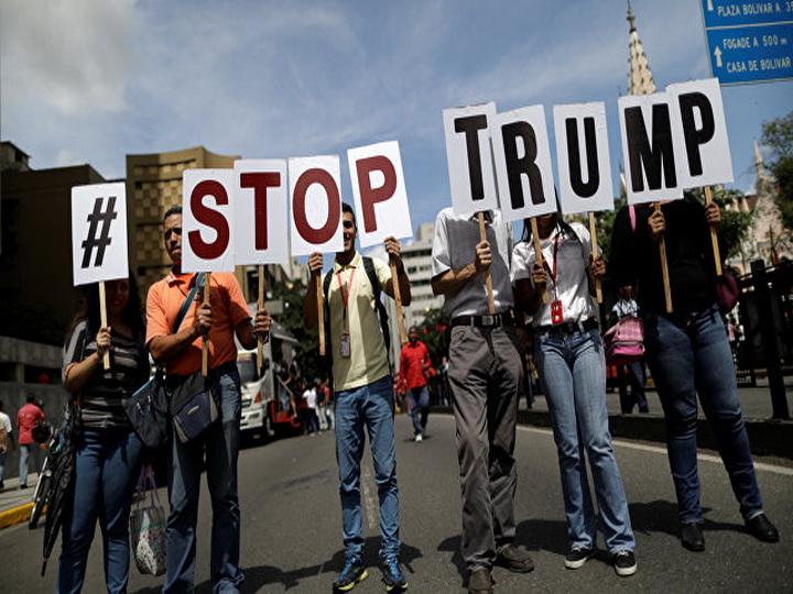 Сторонники Мадуро протестуют после заявления Трампа о военном вмешательстве
