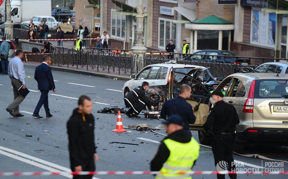 В центре Киева взорвался автомобиль — ФОТО — ВИДЕО
