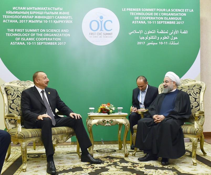 В Астане состоялась встреча Президента Азербайджана Ильхама Алиева и Президента Ирана Хасана Роухани — ФОТО