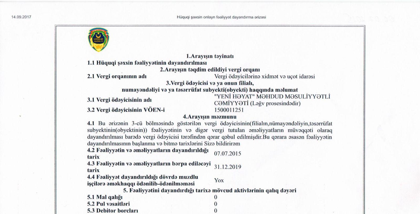 Заявление от Yeni Həyat