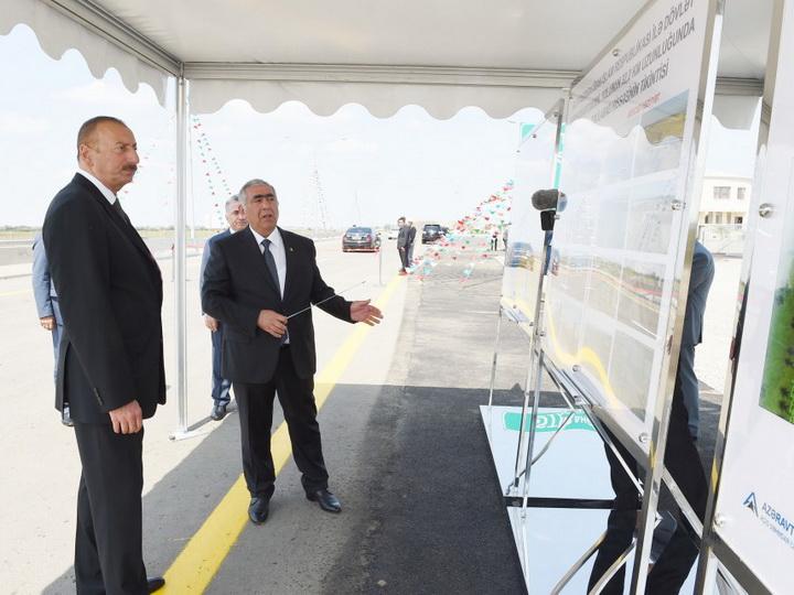 Президент Ильхам Алиев принял участие в открытии автодороги Масаллы-Джалилабад - ФОТО