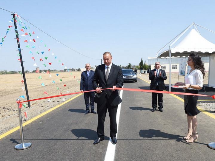 Президент Ильхам Алиев принял участие в открытии автодороги Джалилабад-Астанлы-Джанган-Солтанкенд - ФОТО
