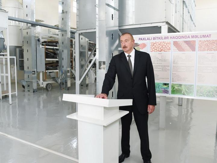 Ильхам Алиев принял участие в открытии предприятия по очистке и фасовке зерновых и бобовых растений — ФОТО