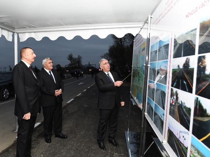 Президент Азербайджана принял участие в открытии автодороги в Сабирабадском районе — ФОТО