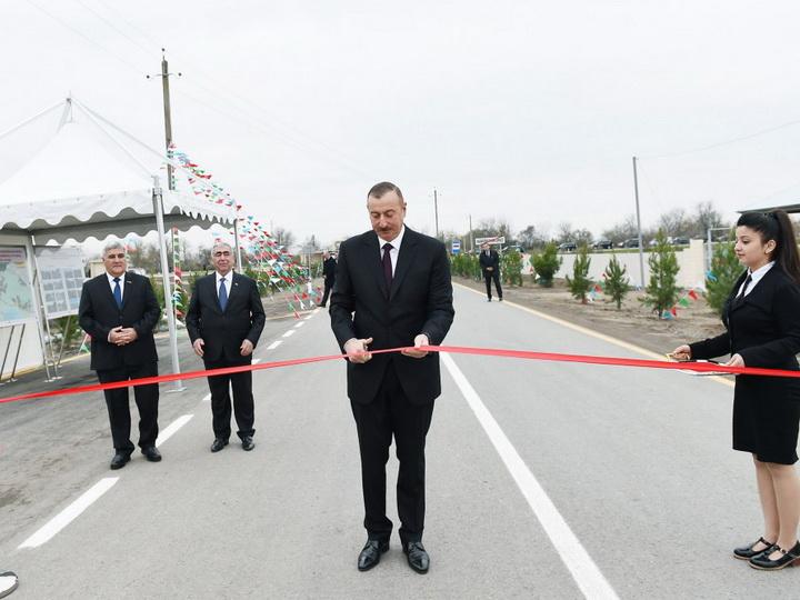 Президент Азербайджана принял участие в открытии автодороги Суговушан-Гашимханлы — ФОТО