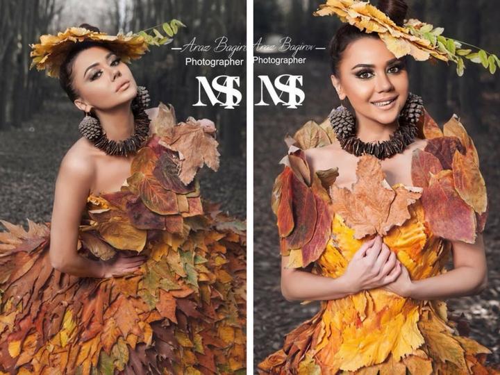 Девушка-осень: Оксана Расулова примерила платье из осенних листьев – ФОТО