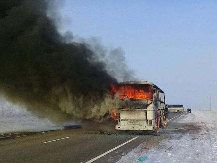В МВД Казахстана назвали причину возгорания в автобусе