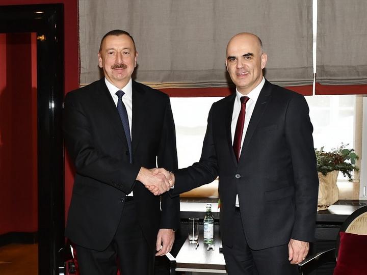 Президент Азербайджана встретился в Давосе с президентом Швейцарии - ФОТО