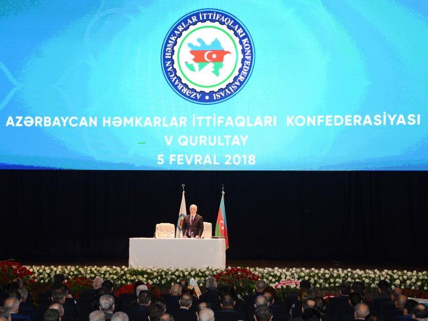 В Баку проходит V съезд Конфедерации профсоюзов Азербайджана - ФОТО