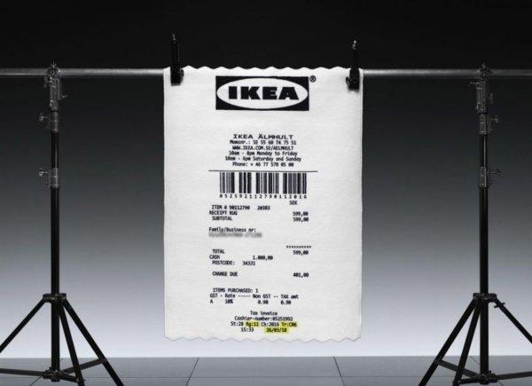 Огромный кассовый чек-ковер стал частью новой коллекции IKEA