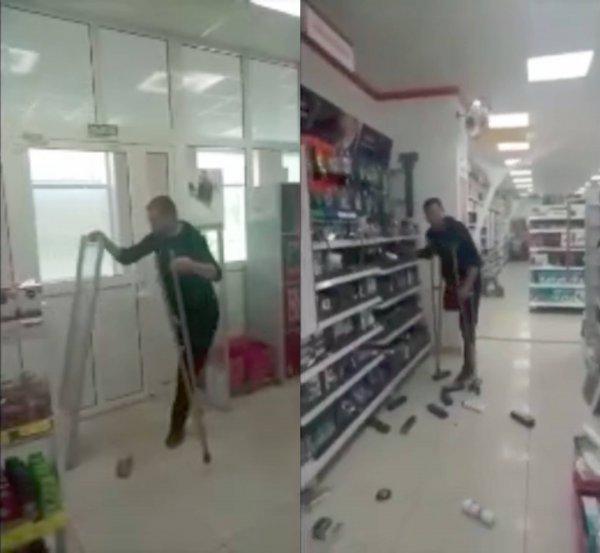 Одноногий инвалид отомстил «Магниту», разгромив супермаркет