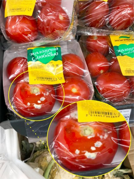 ПомиДор Блю: Супермаркет «Магнит» предлагает приобрести «изысканный» продукт — помидоры с плесенью